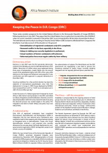 MONUC, DRC, Congo, peace, peace keeping