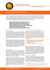 South Africa Brazil, ANC social policy, economic policy